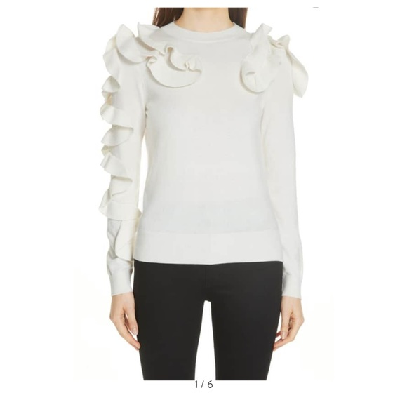 Ted Baker Sweaters - Ted Baker Cream Ruffle Sweater size 4 - NWT